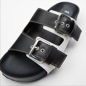 Zara Flat Buckled Sandals